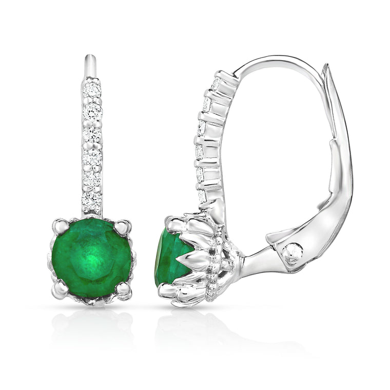 14K White Gold Emerald & Diamond (0.08 Ct,G-H, SI2-I1)   Leverback Earrings