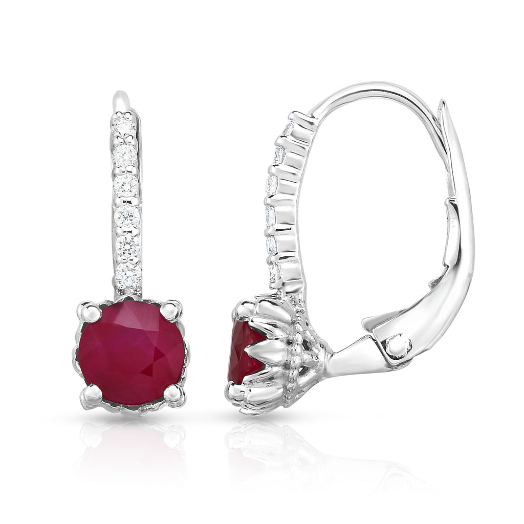 14K White Gold Ruby & Diamond (0.08 Ct, G-H Color, SI2-I1 Clarity) Leverback Earrings