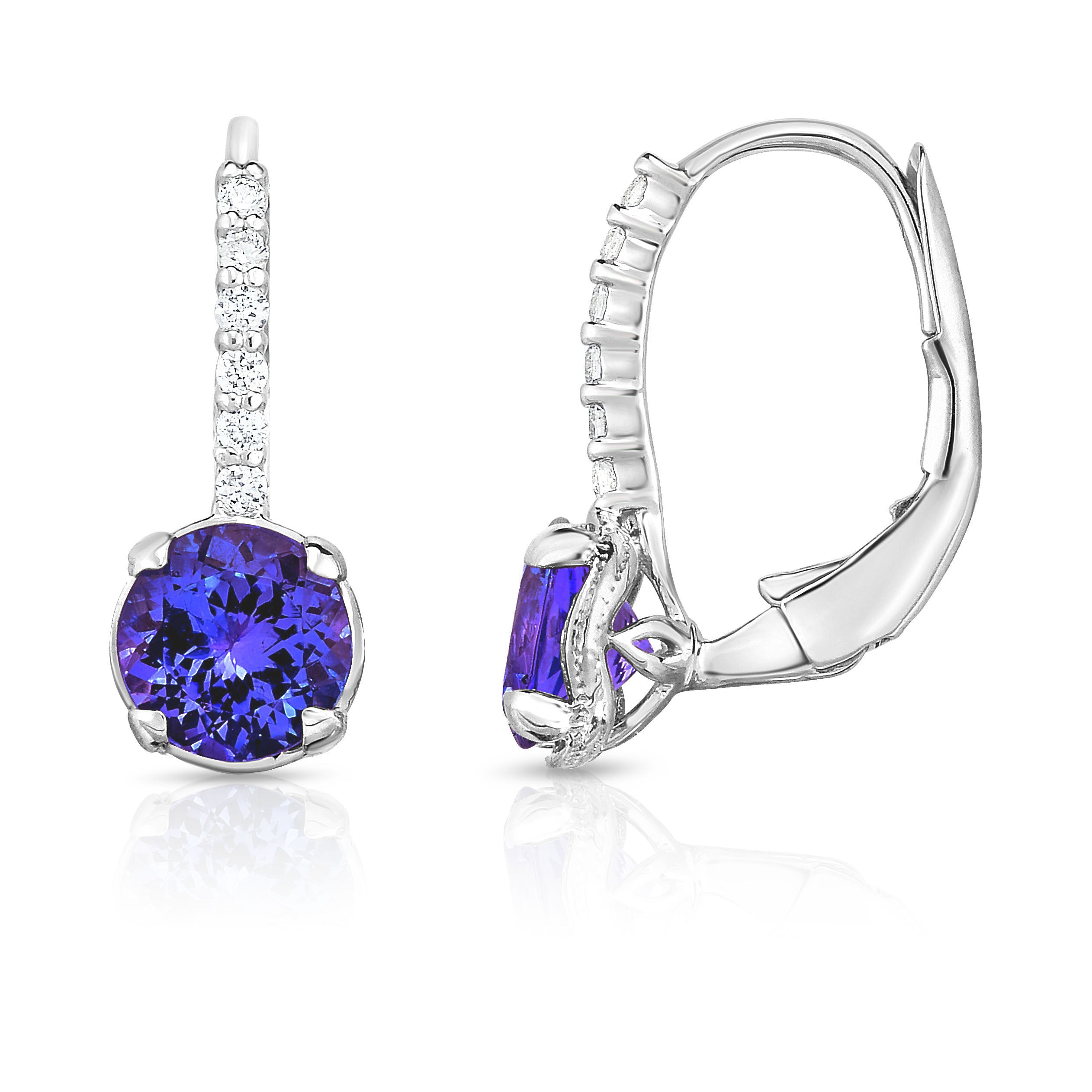 diamond in with halo tanzanite gold white tw earrings