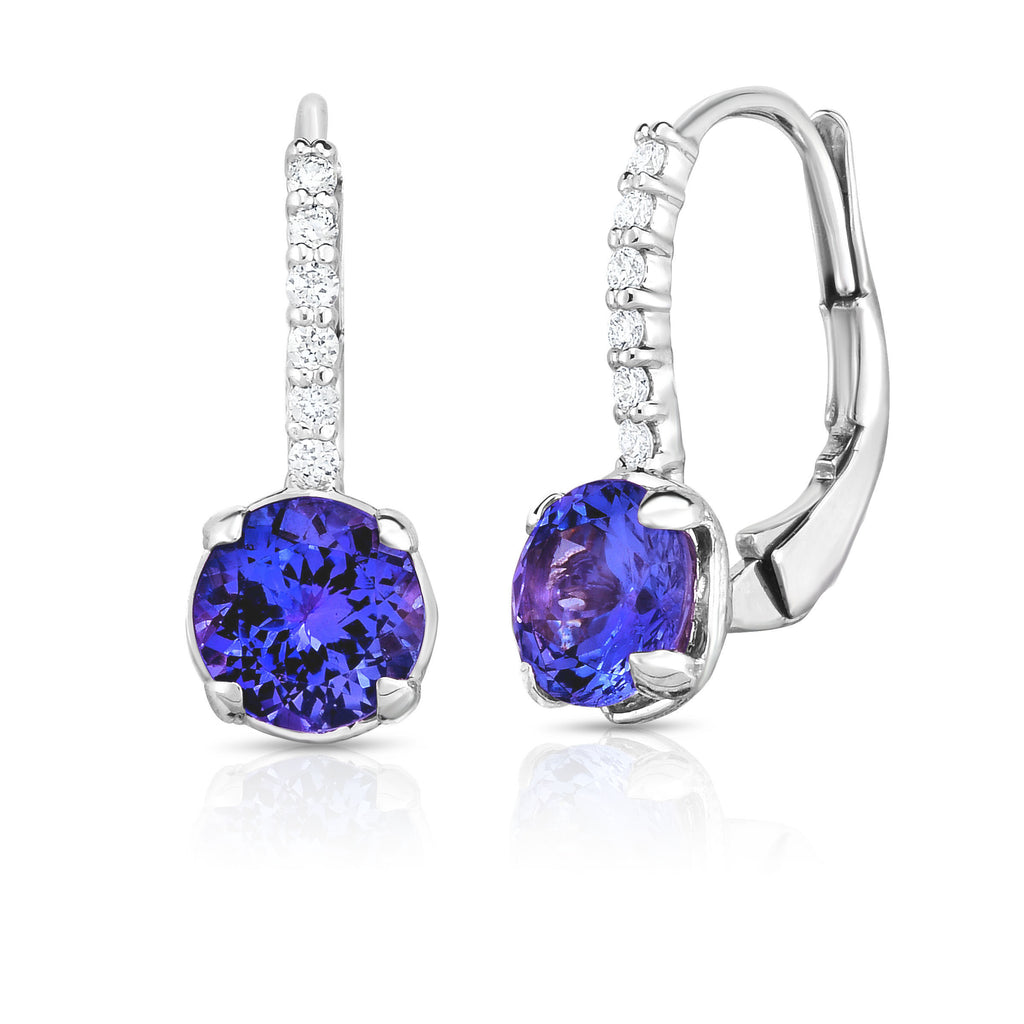 14K White Gold Peridot, London Blue Topaz  OR Tanzanite & Diamond (0.08 Ct,G-H, SI2-I1)  Leverback Earrings