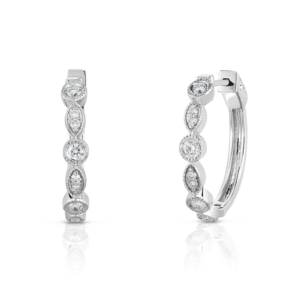 14K White Gold Diamond (0.38 Ct, G-H Color, I1-I2 Clarity) Milgrain Hoop Earrings