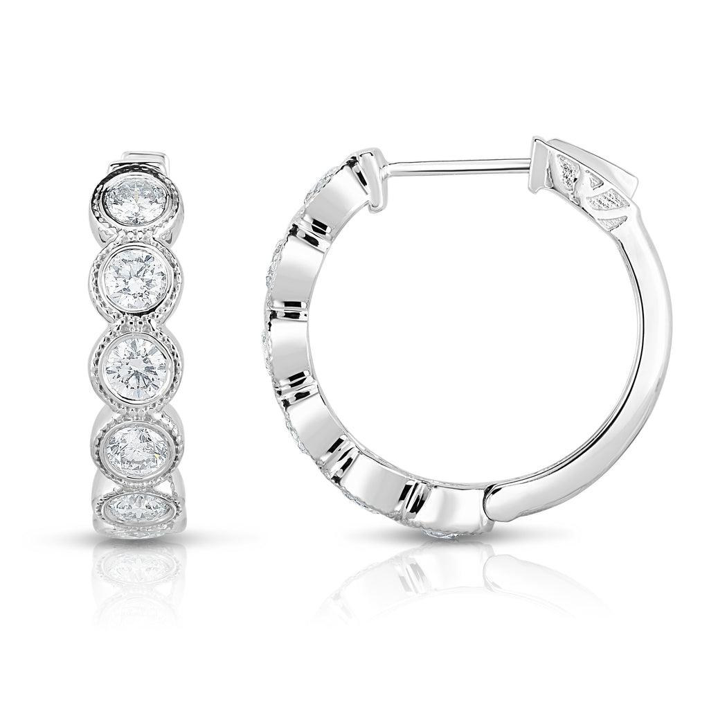 14K White Gold Diamond (1.50 Ct, G-H Color, I1-I2 Clarity) Bezel Set Hoop Earrings