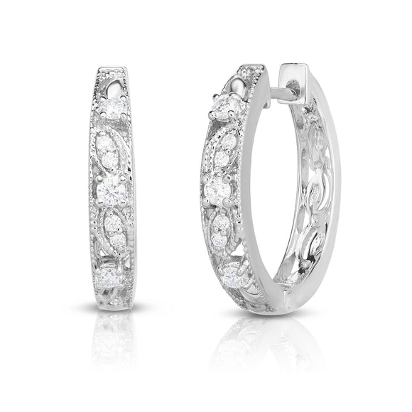 14K White Gold Diamond (0.33 Ct, G-H Color, SI2-I1 Clarity) Milligrain Hoop Earrings