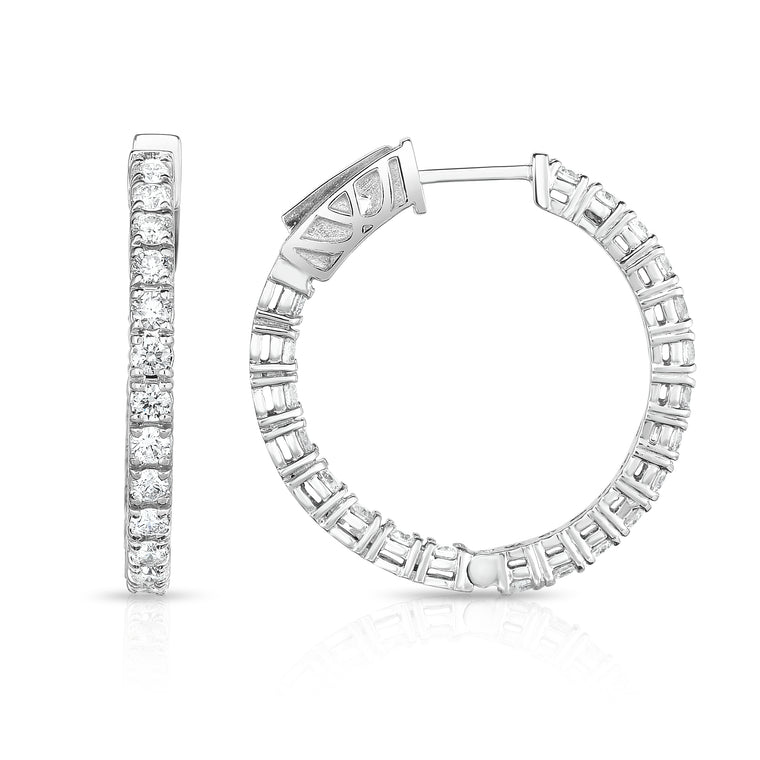 14K White Gold Diamond (1.50 Ct, G-H Color, SI2-I1 Clarity) Inside-Out Hoop Earrings