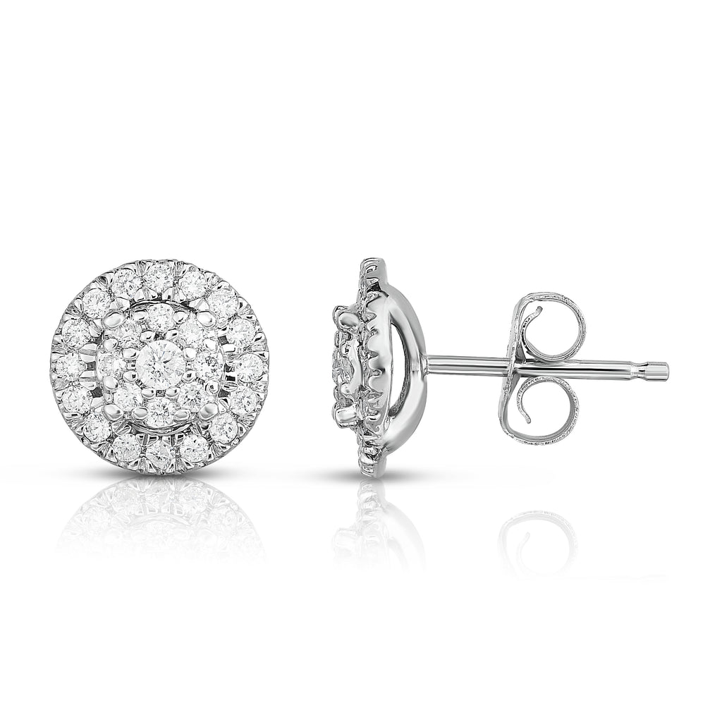 14K Gold Diamond (0.35 Ct, SI2-I1 Clarity, G-H Color) Halo Stud Earrings