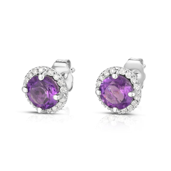 14K White Gold Gemstone & Diamond (0.17 Ct, G-H Color, SI2-I1 Clarity) Halo Stud Earrings