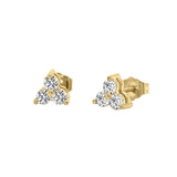 14K Gold Diamond Three-Stone Stud Earrings (0.50 Ct, G-H Color, SI2-I1 Clarity)