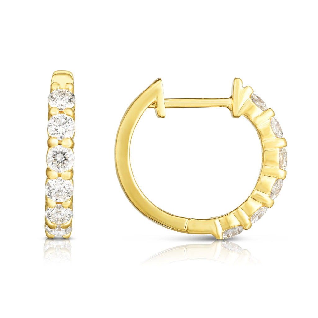 14K Gold Diamond (0.75 Ct, G-H Color, SI2-I1 Clarity) Huggie Hoop Earrings