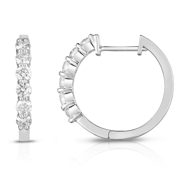 14K White Gold Diamond (0.75 Ct, G-H Color, SI2-I1 Clarity) Huggie Hoop Earrings