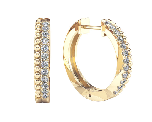 14K Gold Diamond (0.35 Ct, G-H Color, SI2-I1 Clarity) Beaded Huggie Hoop Ring