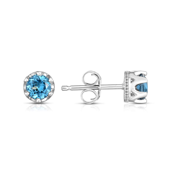 14K White Gold London Blue Topaz Petite Stud Earrings (4 MM; Round Cut)