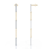 14K Gold Diamond & Gold Bar Chain Two-Tone Station Earrings (0.35 Ct, G-H, SI2-I1)