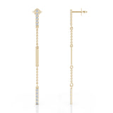 14K Gold Diamond & Gold Bar Chain Station Earrings (0.35 Ct, G-H, SI2-I1)