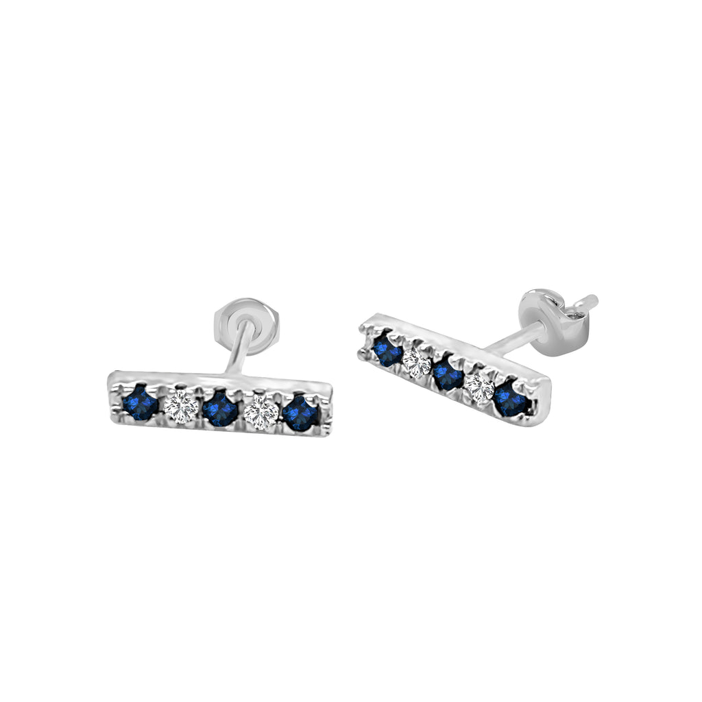 14K Gold Blue Sapphire & Diamond Bar Earrings (0.10 Ct, G-H Color, SI2-I1 Clarity)
