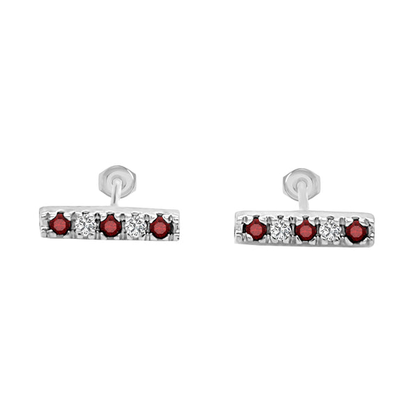 14K Gold Ruby & Diamond Bar Earrings (0.10 Ct, G-H Color, SI2-I1 Clarity)