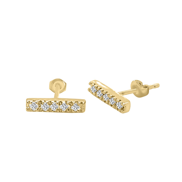 14K Gold Diamond Bar Earrings (0.20 Ct, G-H Color, SI2-I1 Clarity)
