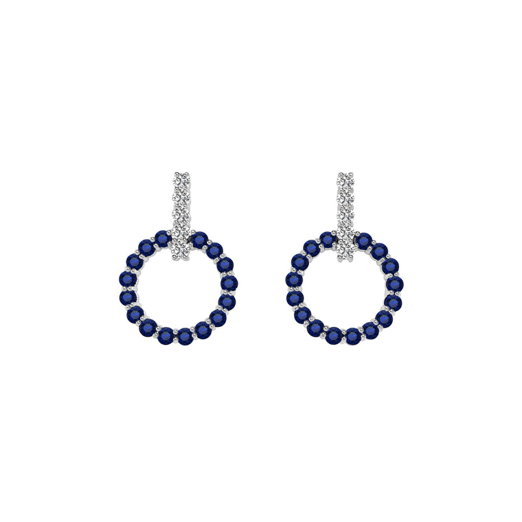 14K White Gold Blue Sapphire & Diamond Circle Earrings (0.70 Ct, G-H Color, SI2-I1 Clarity)