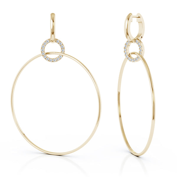 14K Gold Diamond Three Hoop Dangle Earrings (0.40 Ct, G-H, SI2-I1),70MM