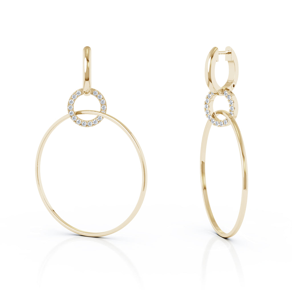 14K Gold Diamond Three Hoop Dangle Earrings (0.40 Ct, G-H, SI2-I1),58MM