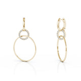 14K Gold Diamond Three Hoop Dangle Earrings (0.40 Ct, G-H, SI2-I1),47MM