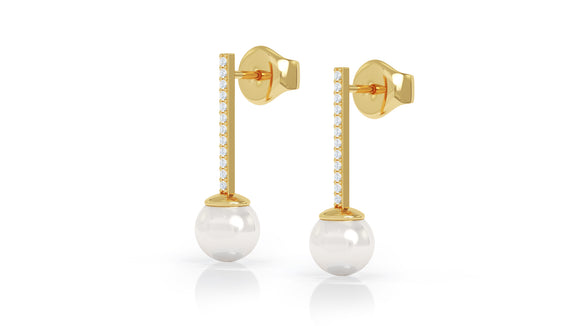 14K Gold 7MM Pearl & Diamond Earrings by (0.20 Ct, G-H Color, SI2-I1 Clarity)