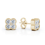 14K Gold Diamond (0.35 Ct, G-H Color, SI2-I1 Clarity) Antique Design Flower Earrings