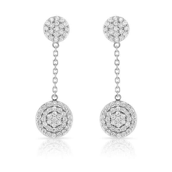 14K White Gold Diamond (1 Ct, G-H Color, SI2-I1 Clarity) Circle Dangle Earrings