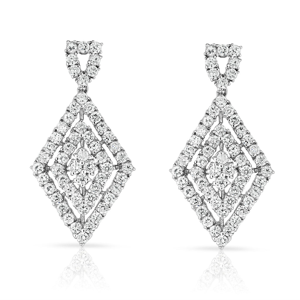 14K White Gold Diamond (4.65 Ct, G-H Color, SI2-I1 Clarity) Teardrop Dangle Earrings