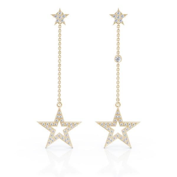 14K Gold Diamond Star Mismatched Drop Chain Earrings (0.75 Ct, G-H, SI2-I1)