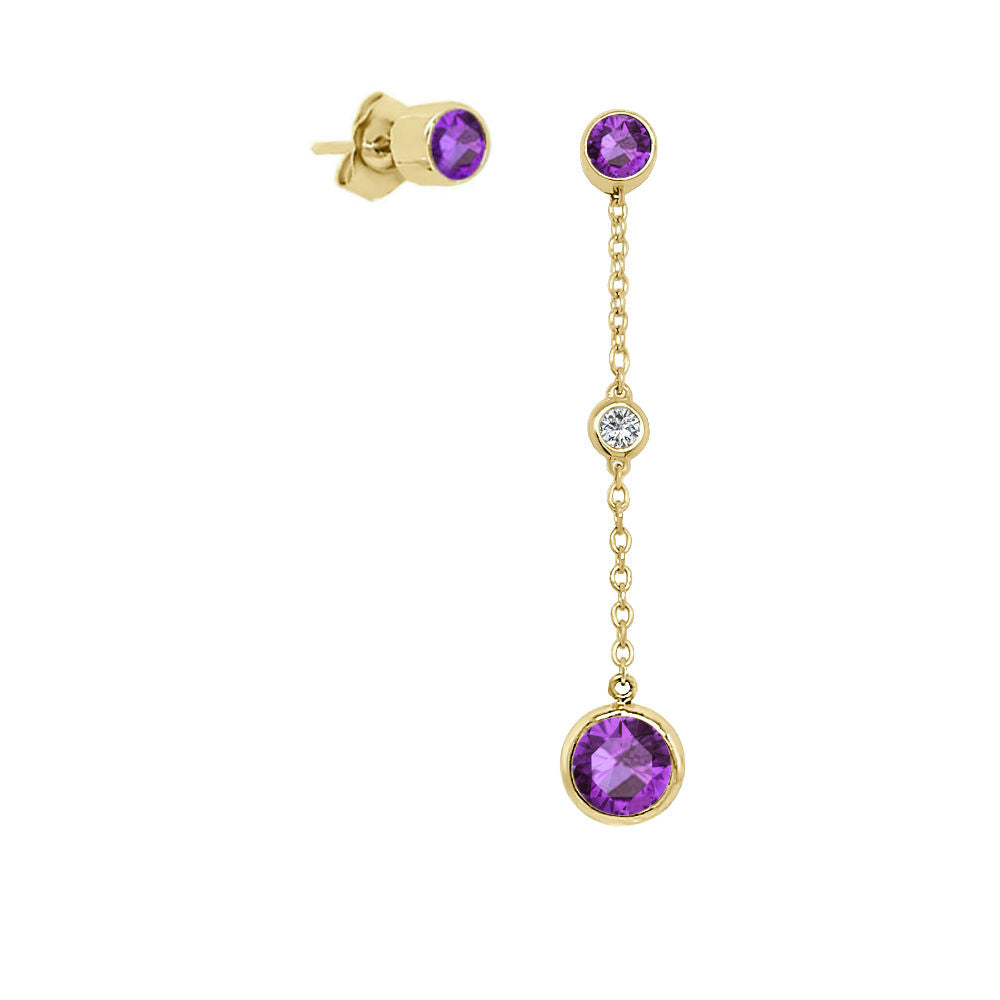 14K Gold Round Shape Gemstone & Diamond (0.04 Ct, G-H Color, SI2-I1 Clarity) Mismatched Earring Set