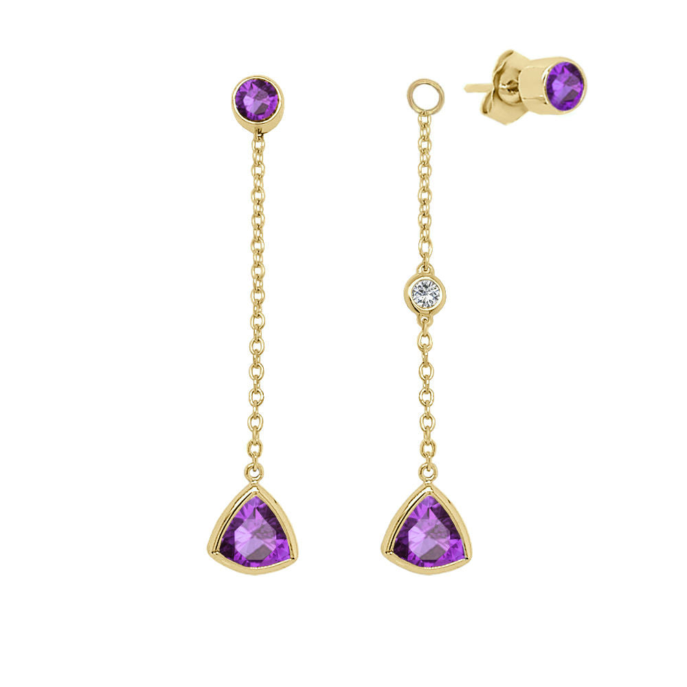 14K Gold Trillion Shape Gemstone & Diamond (0.04 Ct, G-H Color, SI2-I1 Clarity) Mismatched Earring Set
