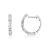 14K White Gold Diamond (0.40 Ct, G-H Color, SI2-I1 Clarity) Hoop Earrings
