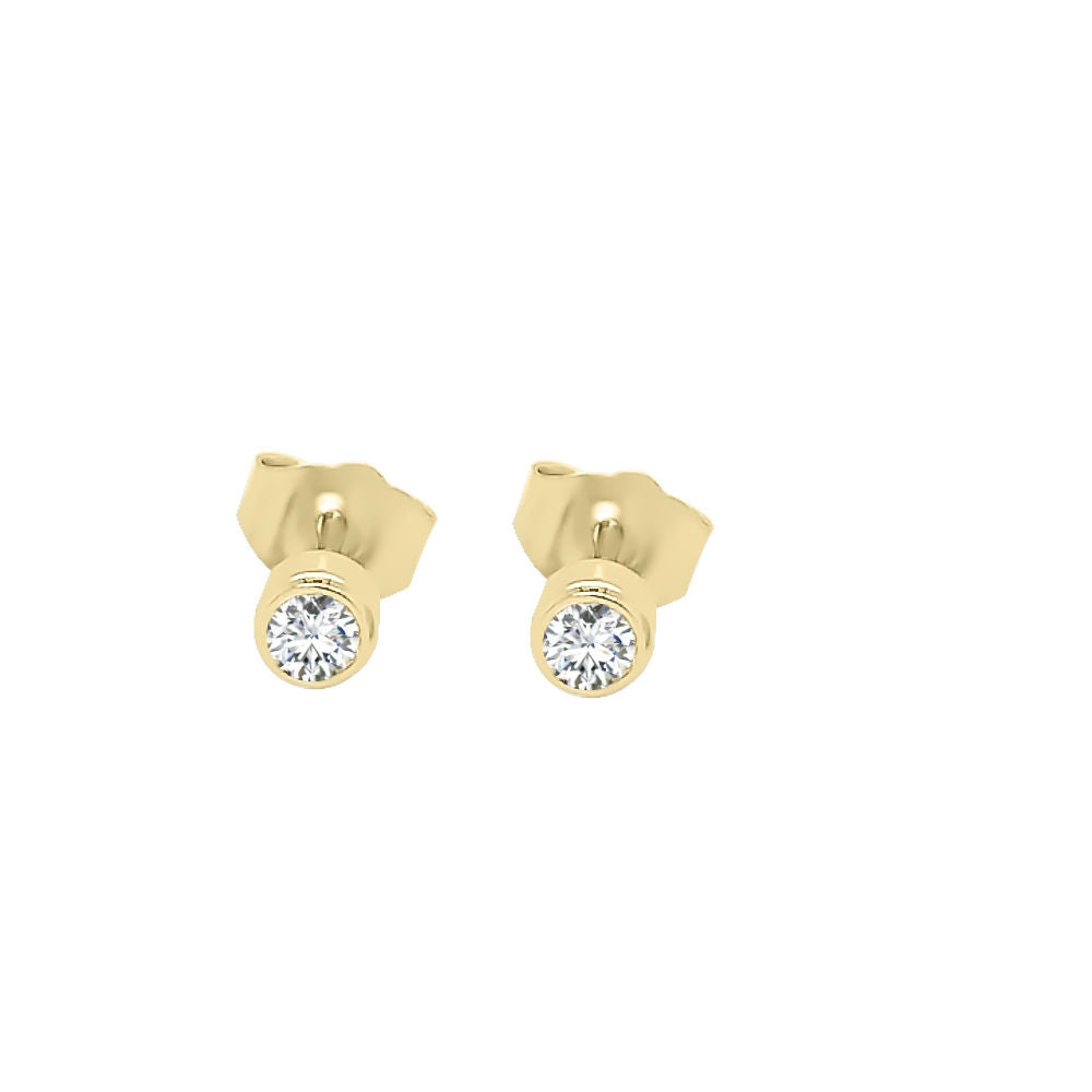 14K Gold Diamond (0.20 Ct, G-H Color, SI2-I1 Clarity) Bezel Set Stud Earrings