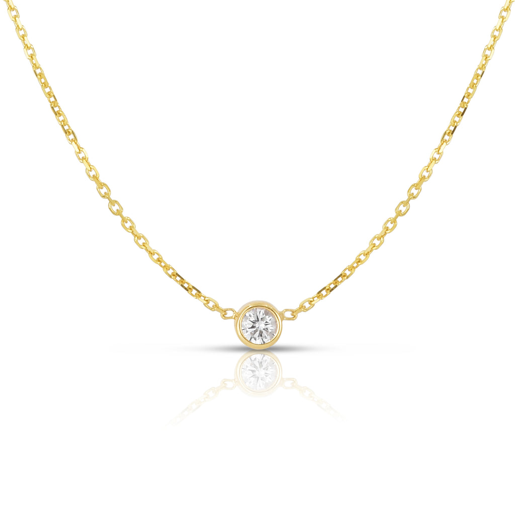 14K Gold Diamond (0.10 Ct, G-H Color, SI2-I1 Clarity) Bezel Solitaire Necklace
