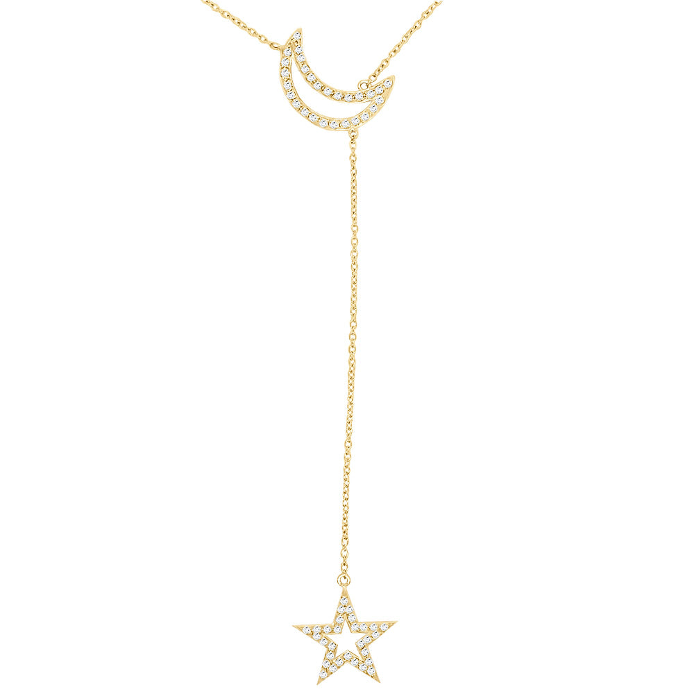 "14K Gold Diamond (0.55 Ct, G-H Color, I1-I2 Clarity) Star & Moon Necklace, 18""-20"""