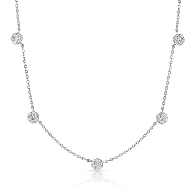 14K White Gold Diamond (1.20 Ct, G-H Color, SI2-I1 Clarity) Cluster Necklace, 17 Inches
