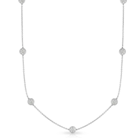 14K Gold Diamond (0.70 Ct, G-H Color, SI2-I1 Clarity) Cluster by the Yard 7 Station Necklace, 18 Inches