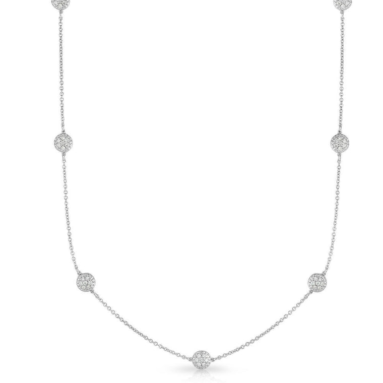 14K Gold Diamond (0.70 Ct, G-H Color, SI2-I1 Clarity) 7 Station Cluster Necklace, 18 Inches
