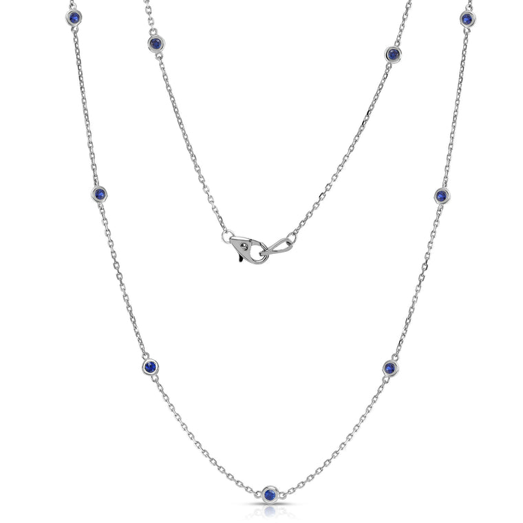 14K White Gold 10 Station 0.50 Ct Blue Sapphire Necklace, 18 Inches