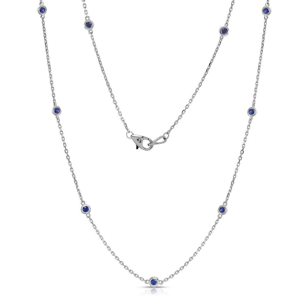 14K White Gold 1 Ct Blue Sapphire by the Yard 10 Station Necklace, 18 Inches