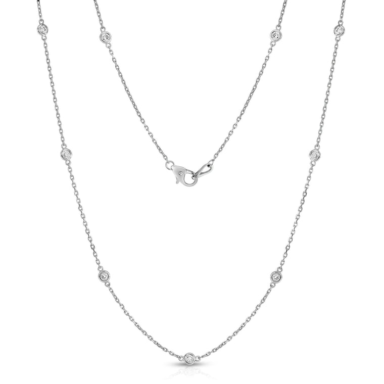 14K White Gold Diamond 12 Station Necklace (1.20 Ct, G-H, I1-I2), 20 Inches