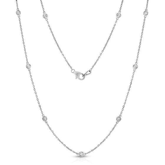 14K Gold Diamond by the Yard 10 Station Necklace (1 Ct, G-H, SI2-I1), 18 Inches