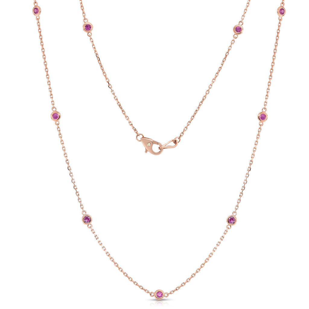 14K Rose Gold 10 Station 1/2 Ct Pink Sapphire Necklace, 18 Inches