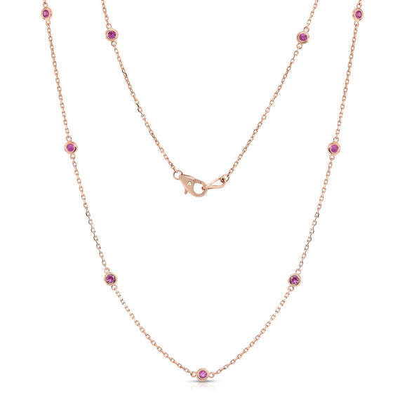 14K Rose Gold 1 Ct Pink Sapphire by the Yard 10 Station Necklace, 18 Inches