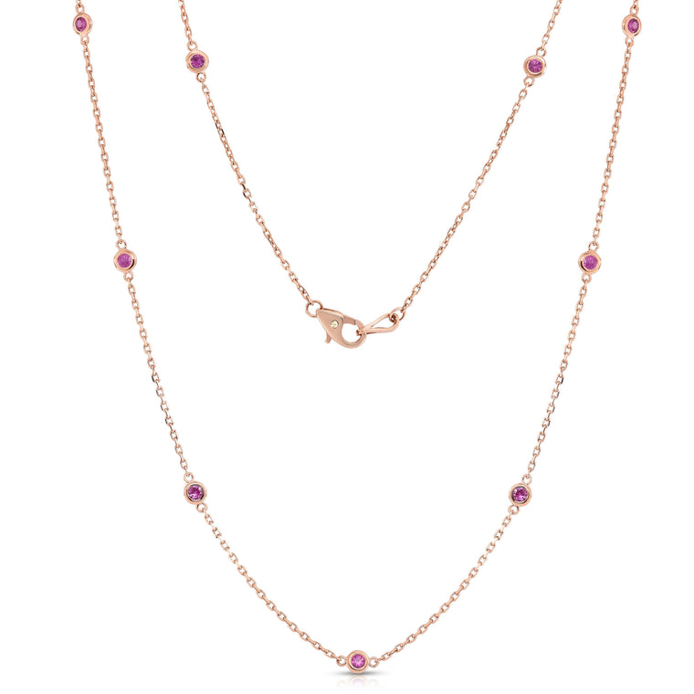14K Rose Gold 10 Station 1 Ct Pink Sapphire Necklace, 18 Inches