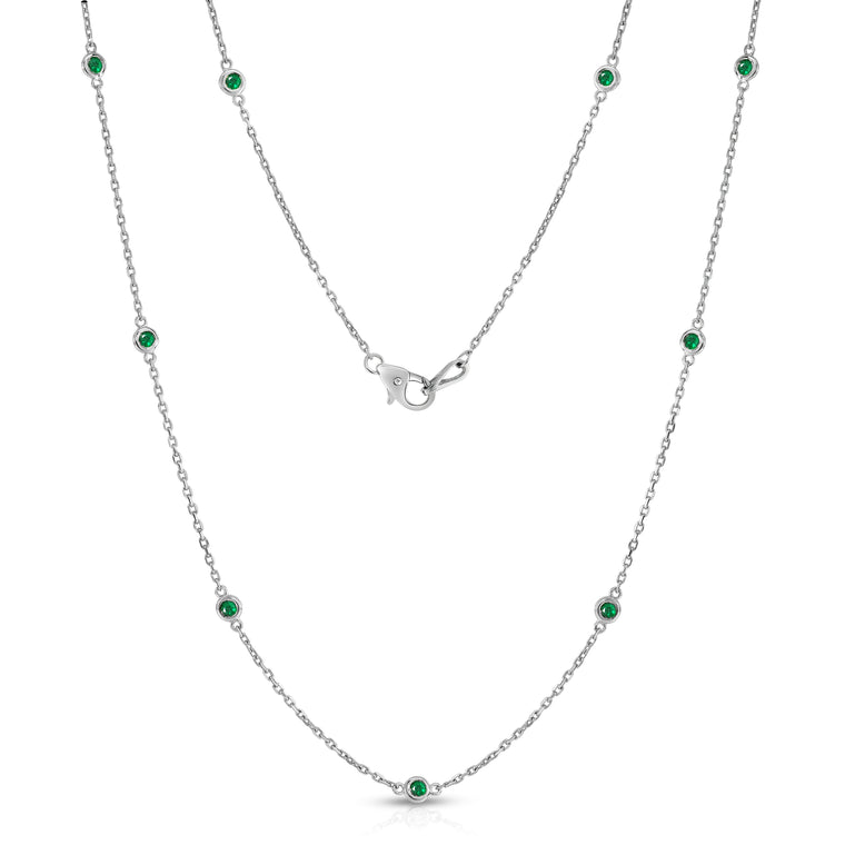 14K White Gold 1 Ct Emerald 10 Station Necklace, 18 Inches