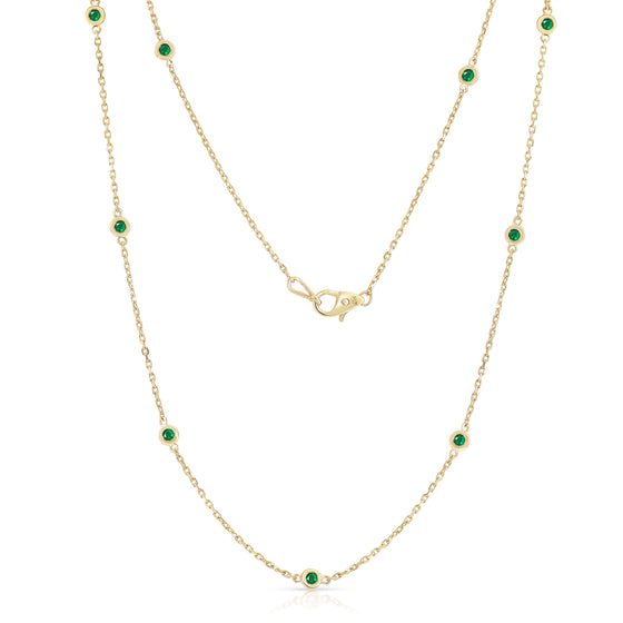 14K Yellow Gold 1 Ct Emerald 10 Station Necklace, 18 Inches