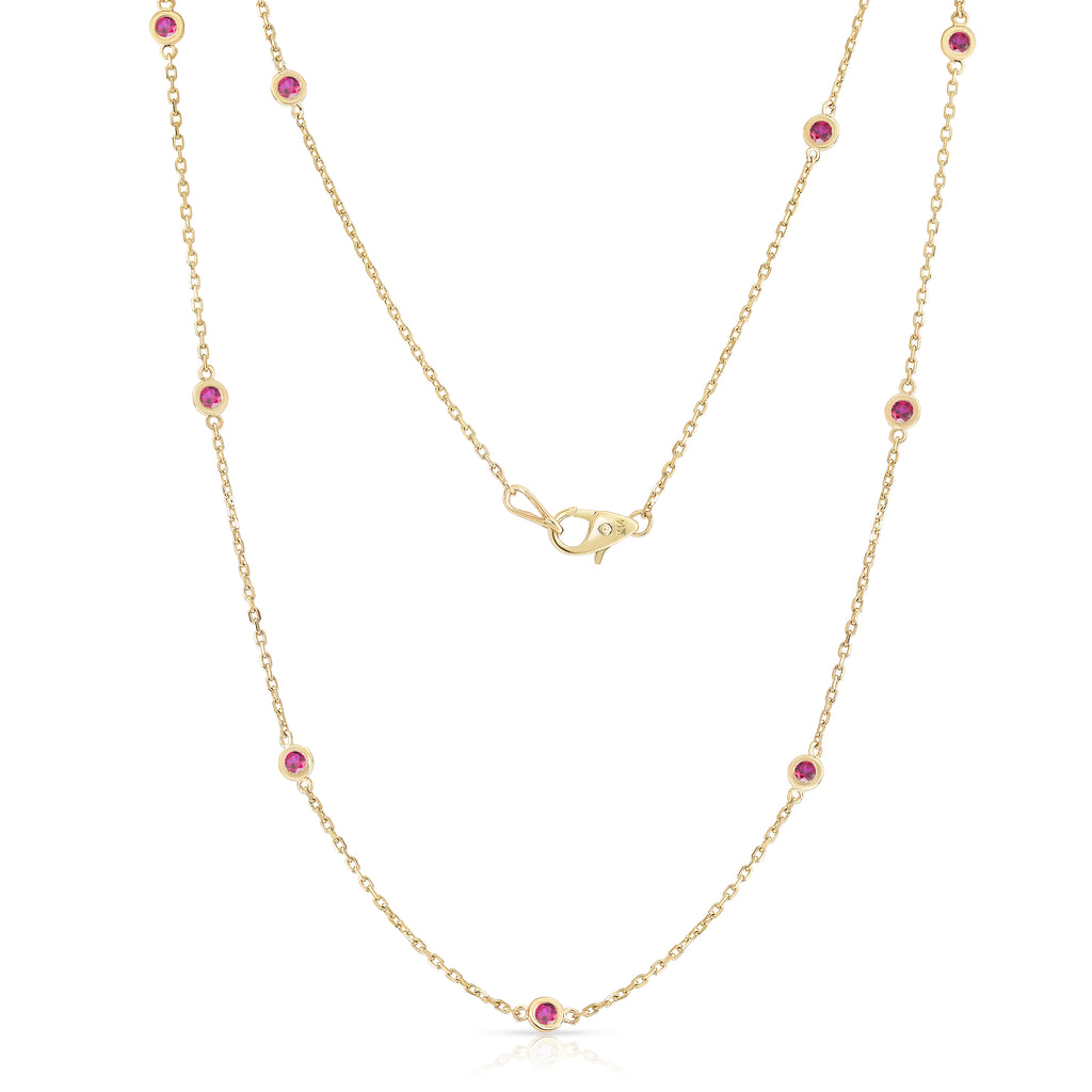 14K Yellow Gold 1 Ct Ruby 10 Station Necklace, 18 Inches