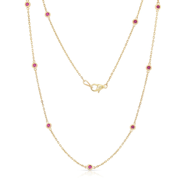 14K Rose Gold 1 Ct Ruby 10 Station Necklace, 18 Inches