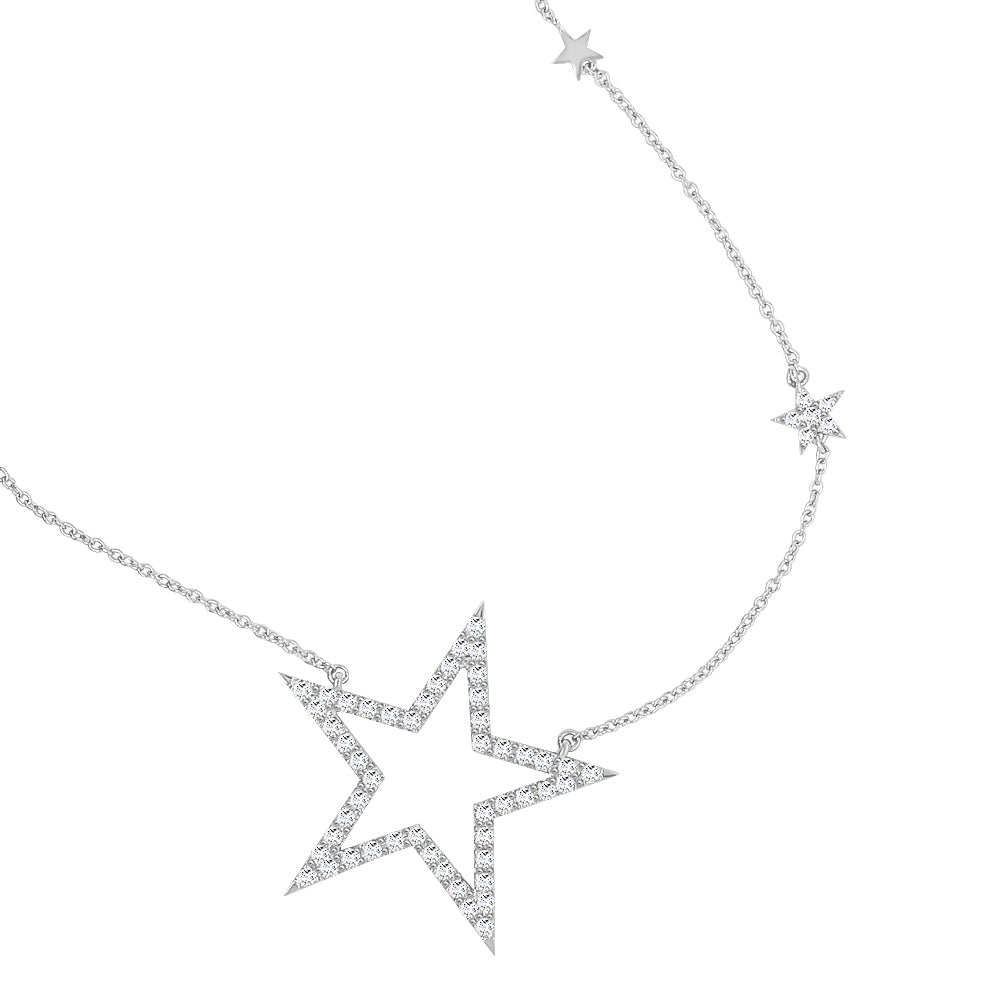 "14K Gold Diamond (1.00 Ct, G-H Color, I1-I2 Clarity) Star Necklace, 17""-18"""